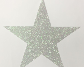 Big Glitter Star STICKERS - 7-3/4 Inch Size - Sparkling White Green Opal Glitter Peel and Stick - 10 Stars - Art Craft Party Decoration