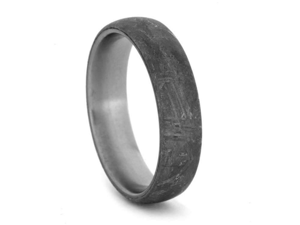 Simple Meteorite Ring in Titanium, Masculine Mens Wedding Band With Meteorite Overlay, Domed Profile Ring