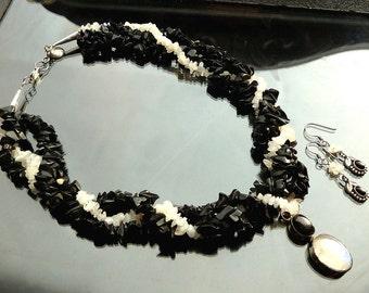 Star Enstatite n Rainbow Moonstone n Black Onyx twisted multistrand necklace set pendant and free earrings in sterling silver OOAK jewelry