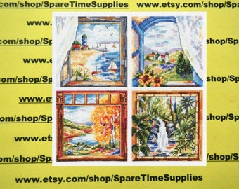 "Janlynn Corporation - Four Window Scenes - counted cross stitch - approx. 8.75"" x 8.75"" - 1 kit - #023-0606"