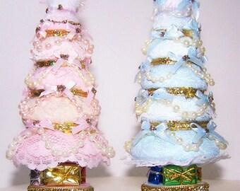 Christmas Tree, Pink Christmas Tree, Miniature Tree, Blue, Dollhouse,  Pink, Cream, Home Decor, Holiday Decor, Free Shipping, Lace, Pearl,