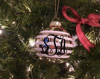Monogram Christmas Ornament | Striped Ornament | Striped Bulb Ornament | Custom Christmas Ornament | Monogrammed | Stocking Stuffer | Gold