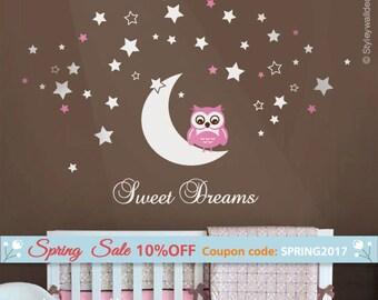 Owl Wall Decal, Owl Moon and Stars Wall Decal, Sweet Dreams Vinyl Lettering, Moon and Stars Wall Decal, Owl Stars Nursery Kids Wall Sticker