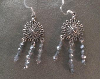 Silver Shimmer Beaded Chandelier Handmade Earrings