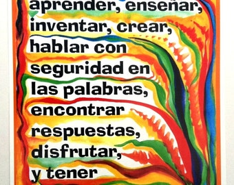 Los Ninos Pueden 8x11 What CHILDREN Can Do Inspirational Classroom Quote Espanol Motivational Spanish Heartful Art by Raphaella Vaisseau