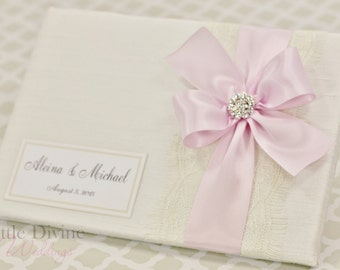 Wedding Guest Book Off White Pink Custom Made in your Colors