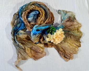 Large silk scarf, natural silk scarf, large blue turquoise scarf, silk shawl turquoise, brown, ochre accordion pleats hand-painted scarf