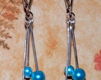 E18 Dangle Teal Pearl Earrings