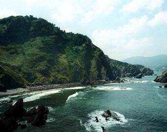 Rugged wild coastline photograph, Atlantic ocean waves crashing surf, green blue jade wall art, home decor