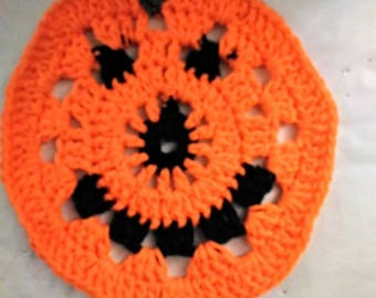 Crochet Halloween washcloth jack o lantern