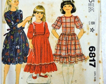 Vintage 1979 Ruffled Edge Dress Sewing Pattern McCall's 6817 Girls' Size 7  Breast 26 inches  Complete