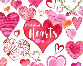 Watercolor Hearts, Hearts Clipart, Watercolor Clipart, Valentines Clipart, Love Clipart, Romantic Clipart, DIY, Design Elements,