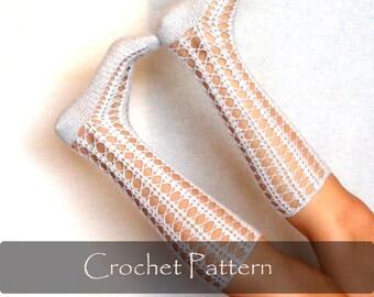 CROCHET PATTERN - Crochet Shell Socks Pattern Women Knee Socks Instructions Pattern Winter Warm Download Lace Open Work PDF - P0044