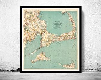 Vintage Cape Cod Map 1917 Massachusetts