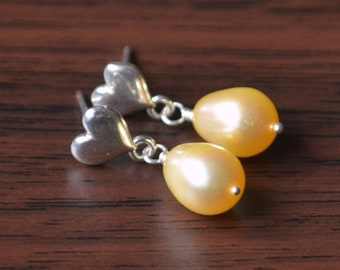 Yellow Pearl Earrings, Drop Earrings, Jewelry For Girls, Real Freshwater Pearls, Children's Earrings, Sterling Silver, Heart Ear Posts