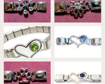 Italian Charm Bracelet Connectors - March, August, September, Daisy, Paw Print & Snowflake
