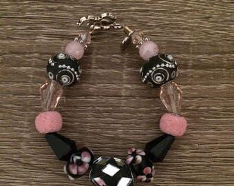 Black amd pink mirror bracelet