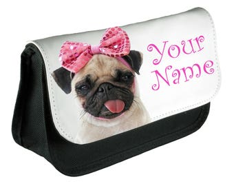 Personalised Girls Pug Bow Pencil Case Make Up Bag School Kids Custom