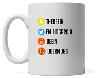Social Media Mug, Social Media Promotion, Custom Social Tags