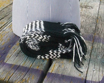 Knitted Black and White Striped Long Scarf Ready to Ship
