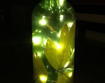 Lighted Decorative Wine Bottle Leaf Theme - Hand Crafted - Great gift!