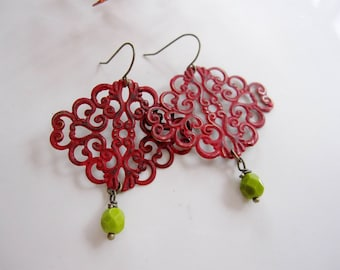 Red Patina Earrings, Red Filigree, Red and Green, Moroccan, Bohemian Style, Tribal, Holiday Earrings, Redpeonycreations