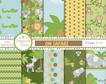 On safari, jungle animals, printable digital paper pack