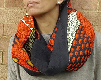 Black and Orange Infinity Scarf