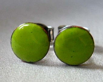 Lime Green Enamel Mini Dot Stud Post Earrings, Kiln-fired Glass Enamel and Sterling Silver