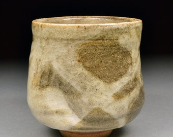 Unique Handmade Smokey Stoneware Yunomi Tea Cup glazed  Carbon Trap Shino and White Shino