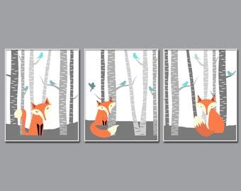 Fox Nursery Wall Art Print, Nursery Art Print, Fox and Trees Nursery Prints, Baby Boy Nursery Wall Art Print,  Bedroom Decor H218