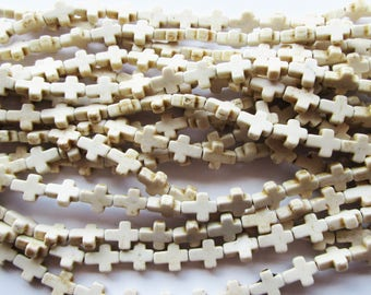 30 Small Howlite Cross Beads, Stone, Colourful Dyed White 10x8mm
