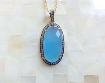Luxurious Faceted Blue Chalcedony & CZ Pave Vermeil Bezel Oval Pendant on Gold Chain Necklace (N1763)