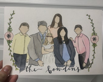 Faceless Watercolor Family Portraits