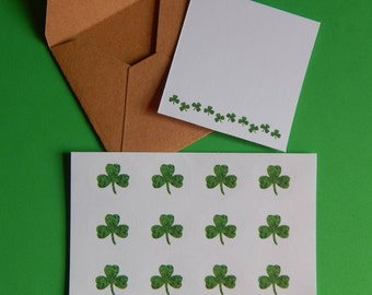 Itty Bitty St. Patrick's Day Card, Shamrock Border, Notes from the Leprechaun, Handmade Mini Shamrock cards,  Gift Enclosures, gift tags,