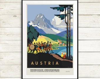 Austria travel posters, vintage austria posters, vintage travel posters, old posters europe, vintage posters, antique poster art prints