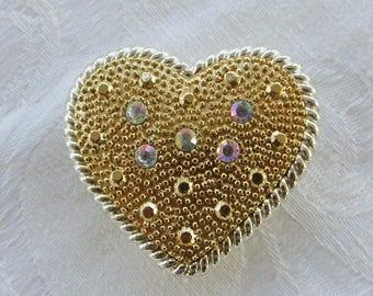 Vintage Heart Brooch, Heart Pendant, Aurora Borealis Rhinestones, Wedding Pin, Bride - CLEARANCE