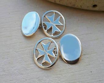 Malta Cross Cuff Links, Silver CuffLinks, Handmade Cuff Links, Maltese Cross Cuff Links, Jewelry for Men, Gift for him, MaltaCross Cufflinks