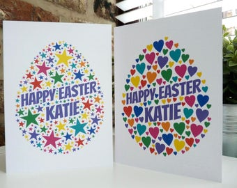 Personalised Easter Egg Card , Easter Card, Special Card, Personalised Easter Card, Word Art Card,
