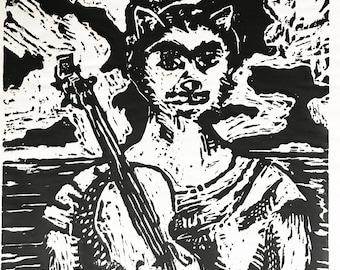 Original Woodcut Print - Frida Kahlo Cat (Frida Catlo) with a Guitar -Signed