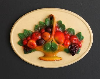 Vintage Chalkware Fruit In A Basket Oval Plaque 1940's Kitchen Dining Room  3 Dimensional Air Brushed Wall Hanging Home Decor