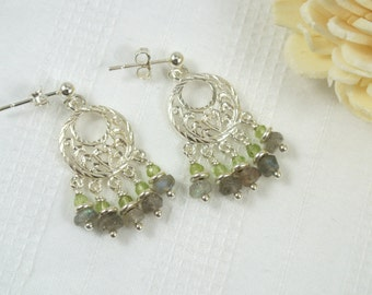 Peridot & Labradorite Chandelier Sterling Silver Earrings