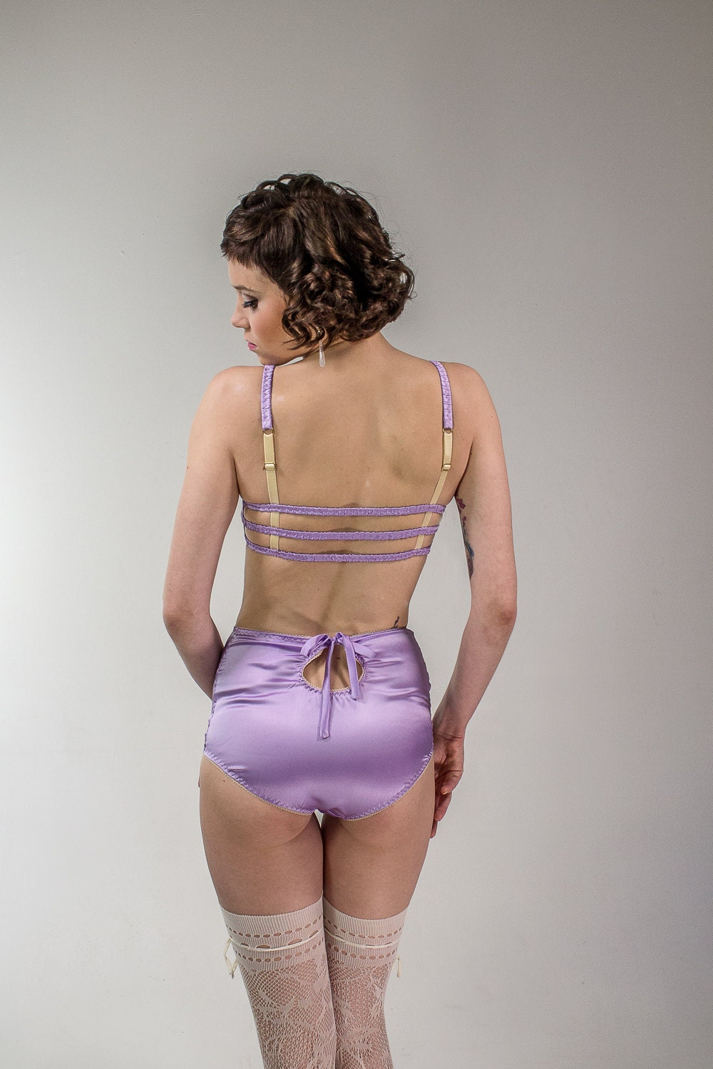 freya: silk satin high waisted panties with keyhole at the
