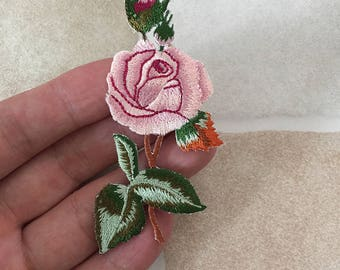 Embroidered Rose Patch Iron/Sew On