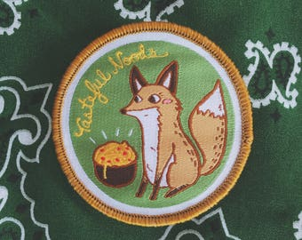Fox Pasta Woven Patch, Iron On Patch, Sew On Patch, Patches for Jackets