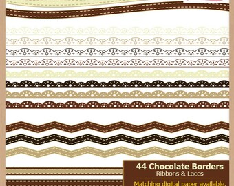 Digital Scrapbooking Border Pack - CHOCOLATE LACE and RIBBONS - Scrapbook Clip Art - Instant Download