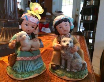 Vintage Porcelain Homco Native American Figurines