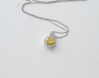 Wedding Necklace, Cubic Zirconia Necklace, Cubic Zirconia Pendant, Sterling Silver Necklace, Wedding Jewelry, Bridal Necklace