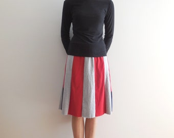 Upcycled T Shirt Skirt Womens Clothing Recycled Tees Knee Length Handmade Fashion Cotton Soft Comfortable Gift for Her