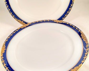 Gorgeous 1930s Rosenthal Salad Plates(2),Cobalt Border with Gold Lace and Vine Trim. Wedding Gift, Housewarming Gift, Thank You Gift